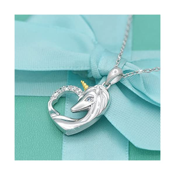 ACJNA 925 Sterling Silver Unicorn Pendant Necklace Rings Gifts for Girls Women 4