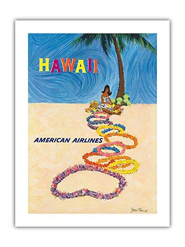 Hawaii - American Airlines - Native Hawaiian Girl Making Leis - Vintage Hawaiian Travel Poster by John A. Fernie c.1950s - Premium 290gsm Giclée Art Print - 18in x 24in