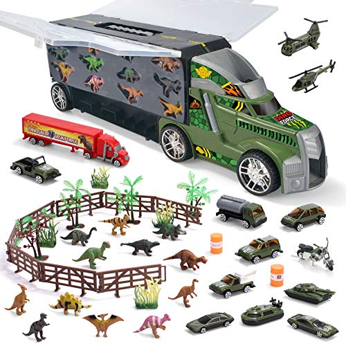 JOYIN Dinosaur Carrier Truck with 12 Dinosaurs and 13 Vehicles Dino Park Pretend Play Toy with Military Vehicle, Tanks…