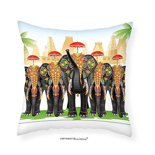 [VROSELV Custom Cotton Linen Pillowcase Ethnic Elephants in Traditional Costumes with Umbrellas Indian Ceremony Ritual Graphic for Bedroom Living Room Dorm Multicolor 28