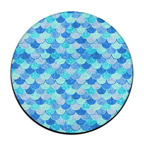 ART TANG Sky Blue Mermaid Fish Scale Area Rug Soft Carpet Non-slip Round Floor Mat Dining Room Carpet (16 Inch (Sassafras Kids Fish)