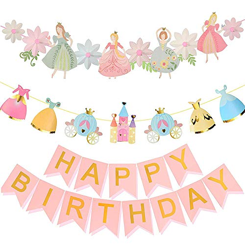 DegGod 3 Pack Princess Birthday Decoration   Princess Girls Birthday Banner   Pink Happy Birthday Garland     Princess & Flower Shape Party Banner   Garden Fairy Home & Cab Shape Party Bunting