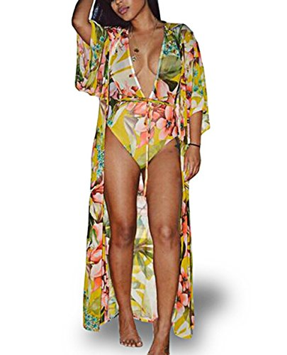 Womens Boho Long Sleeve Colorful Floral Printed Swimsuit One-Piece Bikini Sets with Beach Cover up