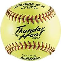 Dudley NFHS Thunder Heat de 12 pulgadas de softball de lanzamiento rápido amarillo de cuero, .47 /375 libras, punto rojo (paquete de 12)