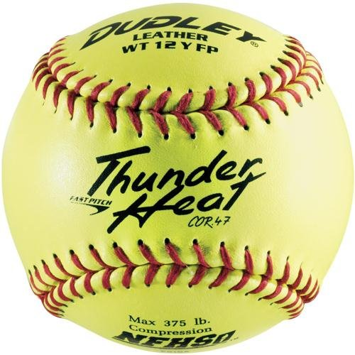 Dudley NFHS Thunder Heat Leather 12-Inch Yellow Fast Pitch Softball, .47/375-Pounds, Red Stitch(Pack of 12)