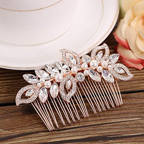 Kercisbeauty Wedding Bridal Bridesmaids Flower Girl Rhinestone Crystal Leaf Rose Gold Hair Comb Slide for Prom,Bun Hair Accessory -