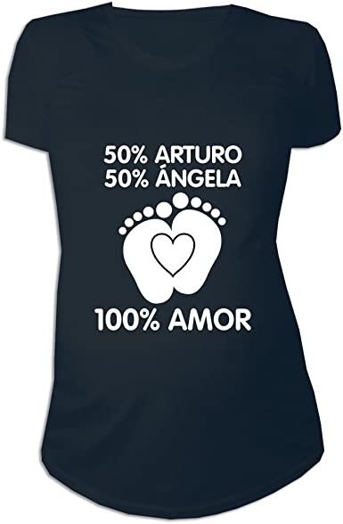 Regalo Personalizable para Mujeres Embarazadas: Camiseta porcentajes Personalizada con los Nombres de la Madre y del Padre del bebé (Negro): Amazon.es: Ropa y accesorios