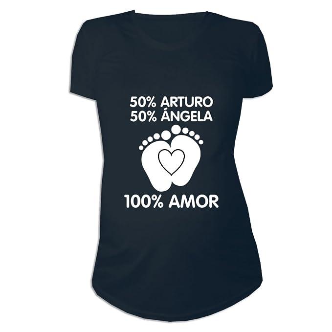 5a3e7cb9e Regalo Personalizable Para Mujeres Embarazadas  Camiseta  porcentajes   Personalizada con los Nombres de la