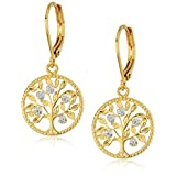 Two-Tone Diamond Accent Tree of Life Leverback Earrings with Yellow Gold Overlay