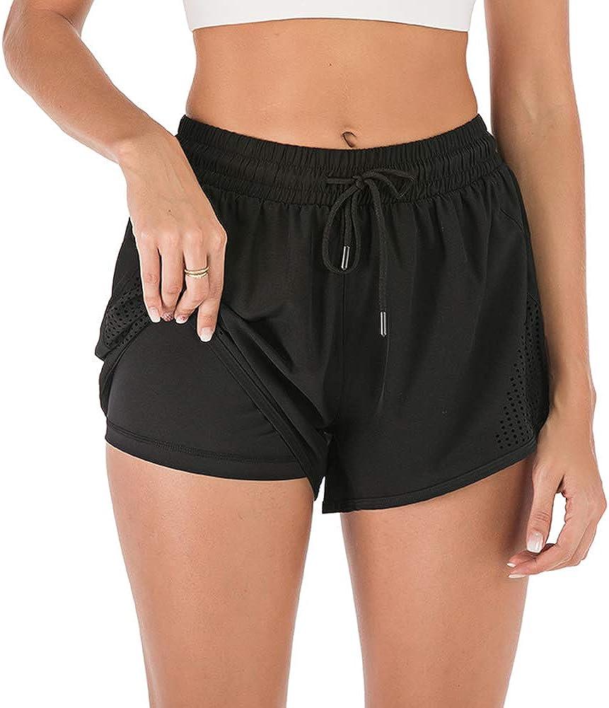 iClosam Shorts de Sports Femme 2 en 1 S/échage Rapide Shorts pour Jogging Yoga