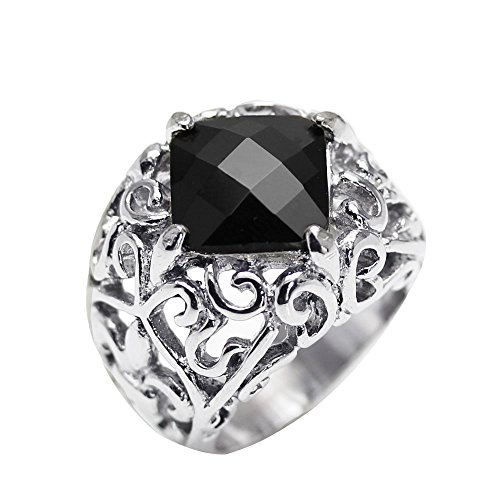 (JSR-01014 Stainless Steel Fleur De Lis Sides Square Black Gem Swirl Design Ring (10))