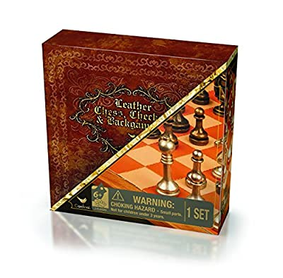 Cardinal Games Leather Chess, Checkers and Backgammon Board Game