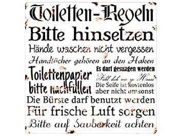 Amazonde 20x20cm Shabby Metallschild Blechschild Toilettenregeln