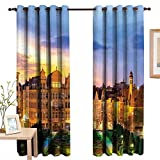 TheresaDewey Bedroom Curtains European,Brussels Citscape with Monument Belgium Avenue Medieval in Gothic Style