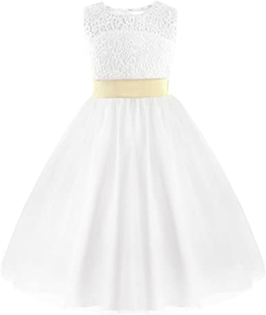 IEFIEL Elégante Robe de Mariage Blanche sans