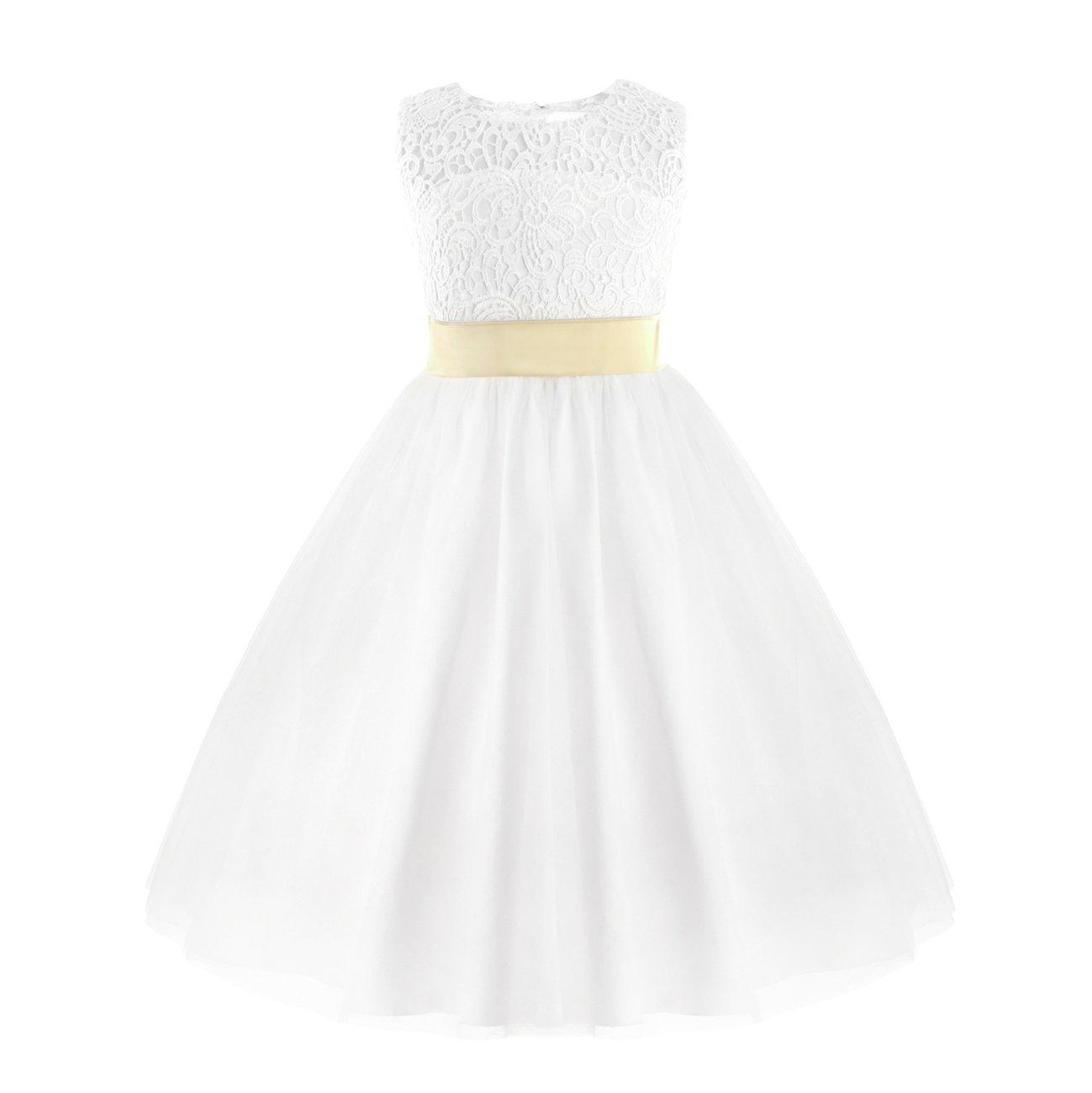 Alvivi Kids Girls Princess Wedding Birthday Party Ball Gown Heart Cutout Back Christening Flower Girl Dress White 4