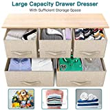 Fabric Dresser with 5 Drawers, Wide Dresser Storage Tower, Organizer Unit with Wood Top and Easy Pull Handle for Closets, Living Room, Nursery Room, Hallway by Pipishell
