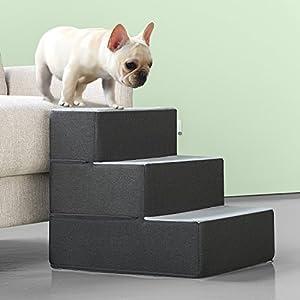 Zinus 3 Step Easy Pet Stairs/Pet Ramp/Pet Ladder/Grey, Medium
