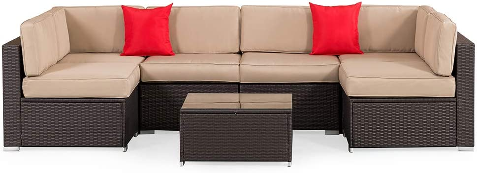 SUNCROWN Outdoor 7-Piece Sectional Sofa Set All-Weather Brown Wicker Full Back Patio Set with Washable Cushions and Glass Coffee Table, Patio, Backyard, Porch, Garden