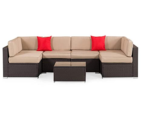 Pleasant Suncrown Outdoor 7 Piece Sectional Sofa Set All Weather Brown Wicker Full Back Patio Set With Washable Cushions And Glass Coffee Table Patio Bralicious Painted Fabric Chair Ideas Braliciousco