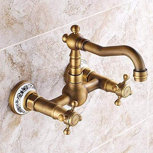 S-TING 蛇口 タップ浴室の蛇口ウォールはソリッドブラスキッチンミキサータップインスピレーションを受けてバスルームのシンクタップアンティークブラス仕上げをマウント 水栓金具 立体水栓 万能水栓