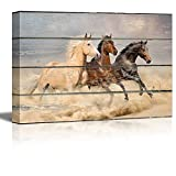 wall26 Canvas Wall Art - Galloping Horses on Vintage Wood Textured Background - Rustic Country Style Modern Giclee Print Gallery Wrap Home Decor Ready to Hang - 16'' x 24''