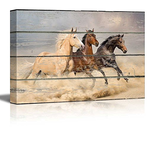 Galloping Horses on Vintage Wood Textured Background Rustic Country Style Gallery