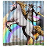 Personalized Funny Unicorn and cat Shower Curtain Shower Rings Included 100% Polyester Waterproof 66 x 72