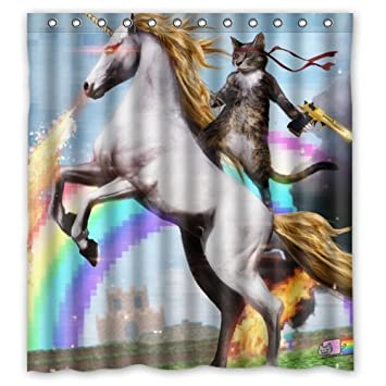 Curtains Ideas cat curtains kitchen : Amazon.com: Personalized Funny Unicorn and cat Shower Curtain ...