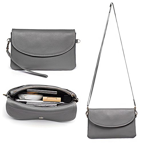 Price comparison product image Befen Full Grain Leather Wristlet Clutch Crossbody Phone Wallet,  Mini Cross Body Purse with Shoulder Strap / Wrist Strap / Card Slots for iPhone 6S Plus / Samsung Note 5 - Light Gray