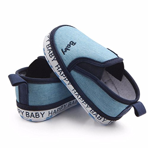 Huhu833 Babyschuhe, Neugeborenes Baby Baby Solid Stickerei Anti-Rutsch Weiche Beiläufige Faule Schuhe Sneaker (3-12M) Hell Blau