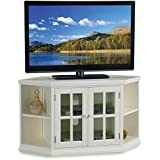 46 in. Corner TV Stand with Bookcase in White Finish