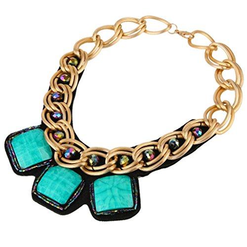 BriLove Women's Stylish Resin Square Pendant Twist Bib Statement Necklace Gold-Tone Blue