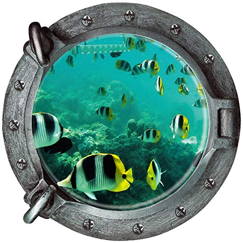 Boodecal 3d Porthole View Undersea Tropical Fishes Waterproof Peel and Stick Vinyl Wall Decals Wall Stickers for Kids Room Bathroom 18X 18 Inches