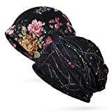 Trendeer Womens Floral Lace Beanie Slouchy Turban Hat Cancer Headwear Chemo Cap (One Size, Stretchable, Style 1-4 Black)