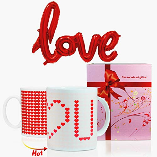Valentine Passionate Hearts - Heart Cup + Red Balloon, Magic Heat Sensitive Color Changing Mug, I Love you Set, Present Idea Coffee Mugs,Great for Wedding Anniversary, Gifts for Couple and Birthdays