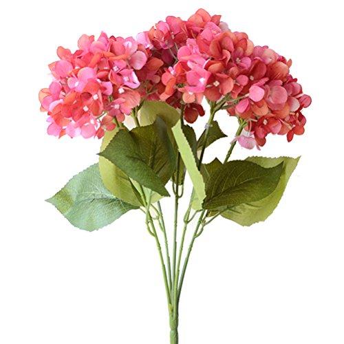 Beautiful Rose Bouquet - Youngman 5 Heads Hydrangea Beautiful Artificial Flower Bunch Bouquet Home Wedding Decor (Rose)