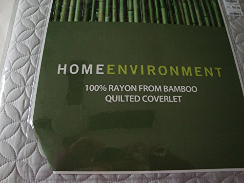 Home Environment 100% Rayon from Bamboo Quilted Queen Silver Coverlet - Bamboo Queen Quilted Coverlet