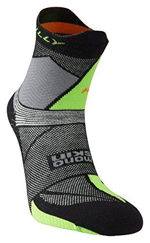 Hilly Men's Ultra Marathon Fresh Running Socks - Black/Grey/Lime Green,...