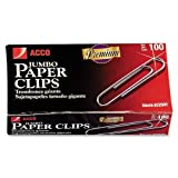 Wholesale CASE of 10 - ACCO Non-Skid Paper Clips-Gem Clips,Jumbo,Non-Skid,.045 Wire Gauge,1000/PK,Silver