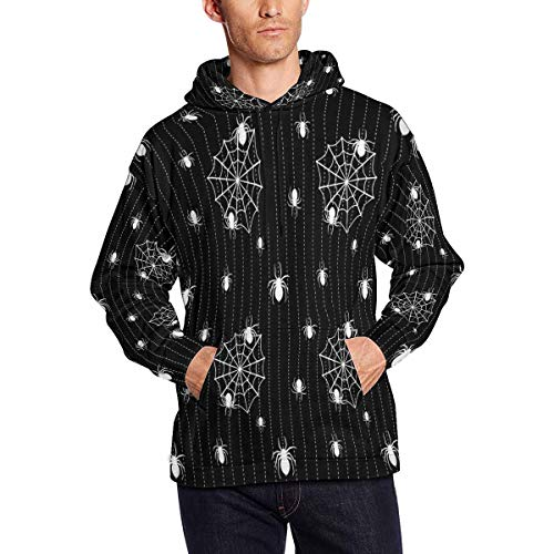InterestPrint Men's Halloween Background with Spiders and Web Slim Fit Long Sleeve Lightweight Hoodie L