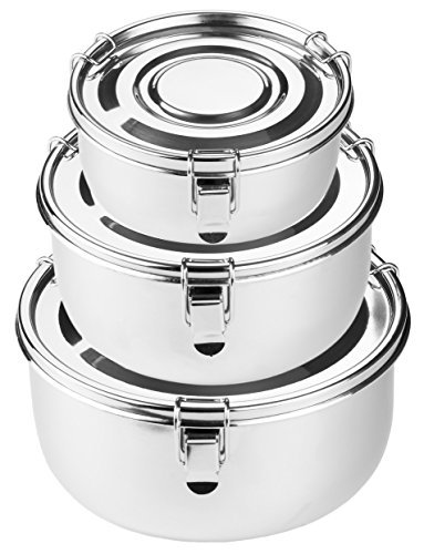 Steel Storage Containers - Premium Stainless Steel Food Storage Containers | 316 Grade | The Original Leak-Proof, Airtight, Smell-Proof - Perfect For Camping Trips, Lunches, Leftovers, Soups, Salads & More (Set of 3)