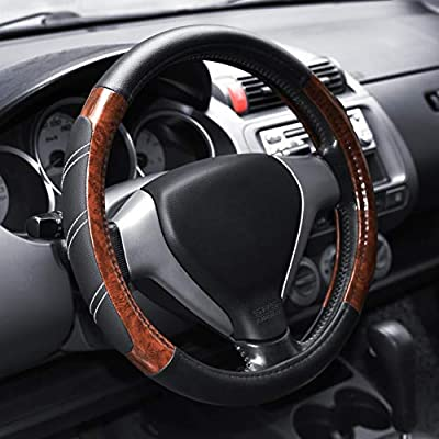 Elantrip Wood Grain Steering Wheel Cover Leather 14.5 to 15 inches Anti Slip Universal for Car Truck SUV Jeep: Automotive
