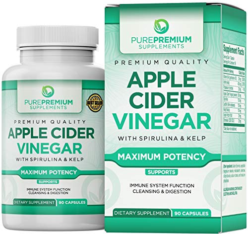 Premium Apple Cider Vinegar Capsules by PurePremium (Maximum Strength) ACV Pills - Healthy Digestion, Energy, and Immune System - 90 Caps (Garcinia Cambogia Pills And Apple Cider Vinegar Recipe)