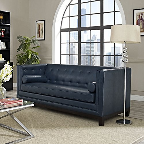 Modway Imperial Club Style Tuxedo Modern Sofa With [Bonded] Leather Upholstery And Two Bolster Pillows In Blue