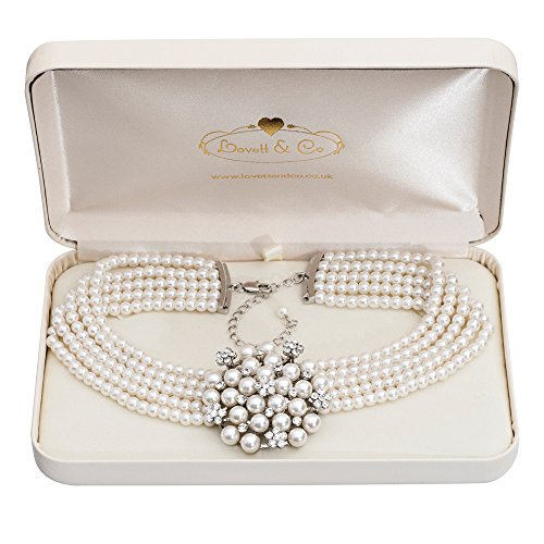 (Audrey Hepburn Glass Pearl Necklace Cream with Gift Box)