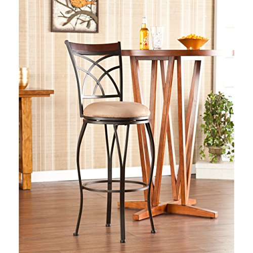 Southern Enterprises Ashbourne Swivel Bar Height Stool, Steel and Walnut with Microfiber Seat in Mocha (Southern Enterprises Kitchen Bar Stool)