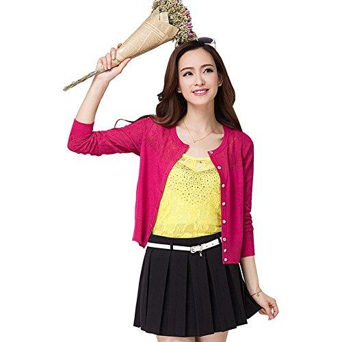 (ワンース) Wansi レディース カーディガン ニット 軽量 蒸れない ニットウェア 上着 薄い 夏服 ショート丈 クルーネック エアコン対策 透かし彫り 柔らか 快適 淑女 綺麗 ゆったり アウトドア レッド L