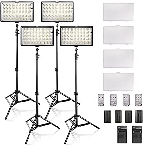 SAMTIAN Dimmable 240 LED Video Light Panel Photo Kit with 3200/5600K CRI 96+ LED Panel, 78 inches Light Stand for Studio Photography and Video Shooting