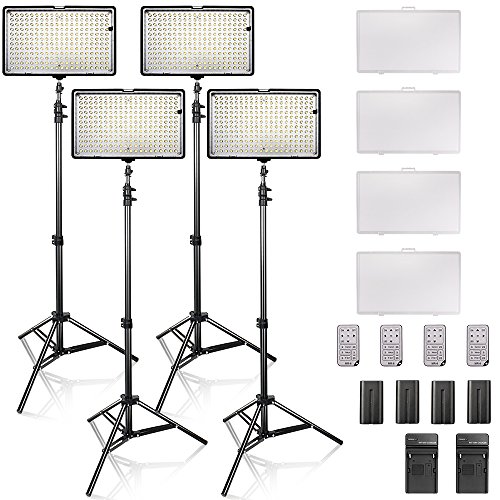 SAMTIAN Dimmable 240 LED Video Light Panel Kit Including 3200-5600K CRI 96+ LED Panel, 78 inches Light Stand for Studio Photography and Video Shooting